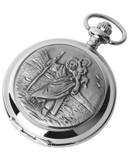 'St Christopher' Quartz Pocket Watch with Chain